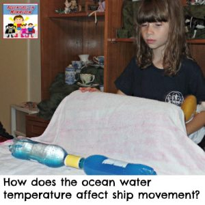 How does the ocean temperature affect a ship's movement