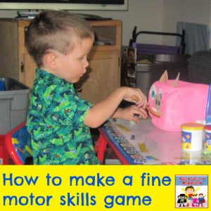 how to make a fine motor skills game to practice transferring craft preschool