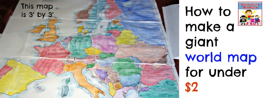 How to make a wall map for your homeschool how to make a giant world map for little money gumiabroncs Images