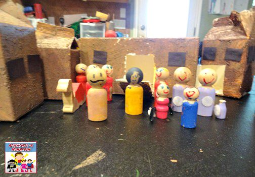 kid made peg doll nativity