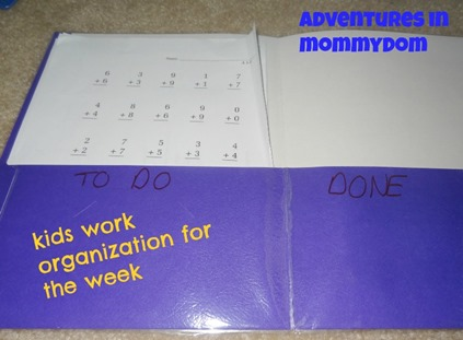 kids work organization for the week