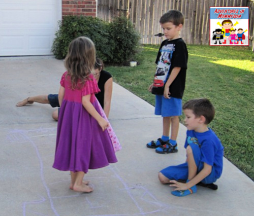learning to play hopscotch for colonial games lesson