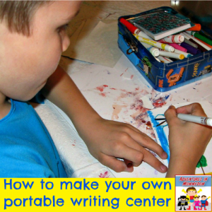 make your own portable writing center for kids