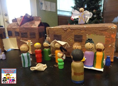 peg doll nativity set up