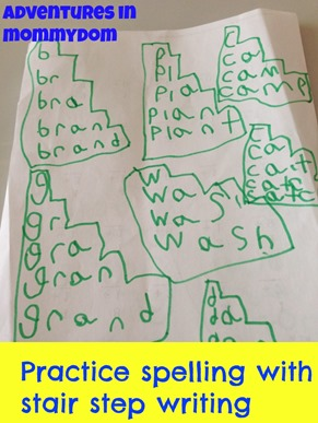 practice spelling tip with stair step writing