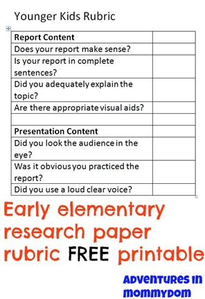 rubric for a research paper elementary Rubric for poster presentations: criteria expert proficient apprentice novice presentation of research  prominently positions title/authors of paper thoroughly but concisely presents main points of introduction, hypotheses/ propositions, research methods, results, and conclusions in a well-organized manner.
