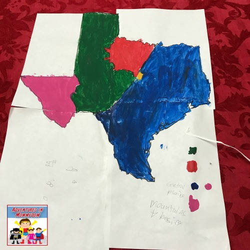 regions of Texas map for Texas geography unit