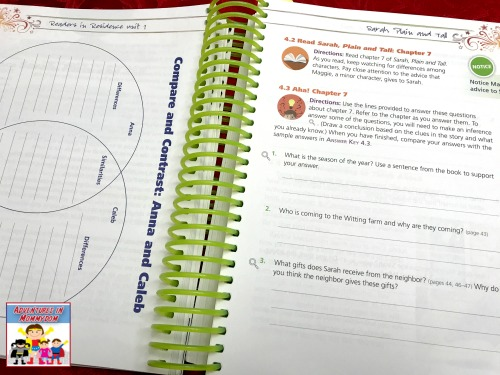 sample page from Readers in Residence homeschool reading