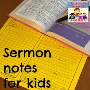 sermon notes for elementary kids