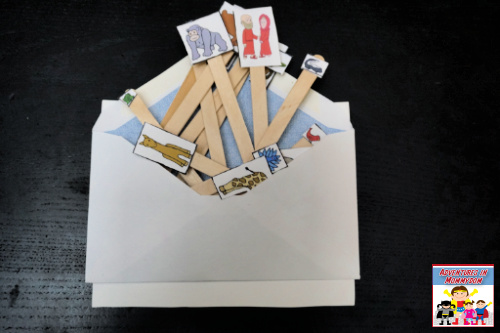 storing the pieces from the Noah's ark popsicle stick craft