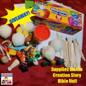 supplies for the Creation story Bible Unit giveaway
