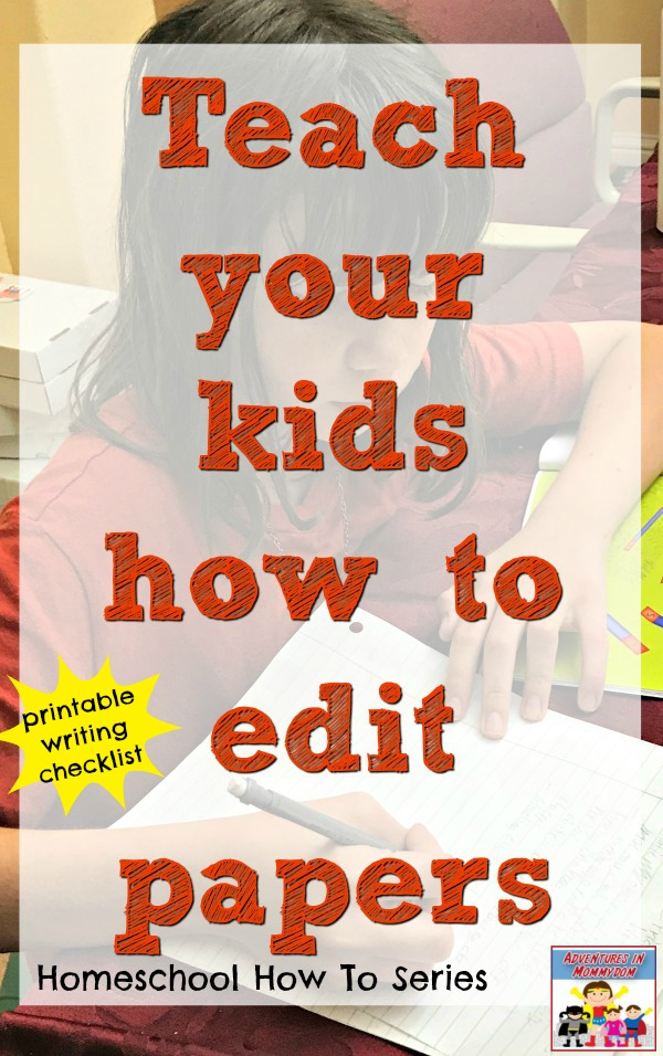teach your kids how to edit papers