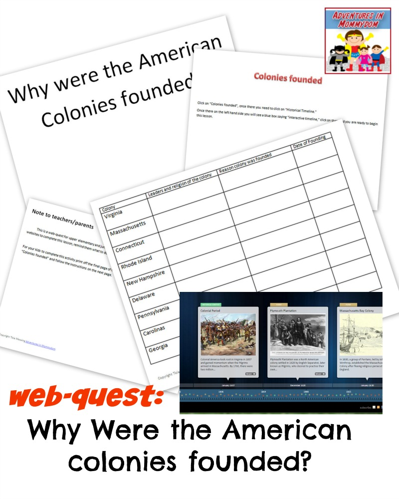 web quest Why Were the American colonies founded