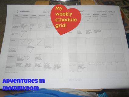 weekly schedule grid