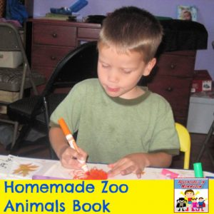 working on homemade zoo animals book